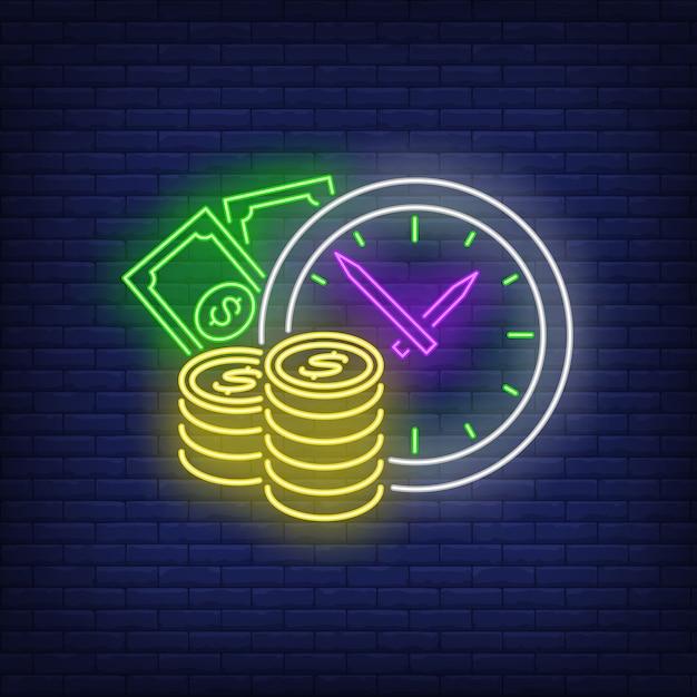 Reloj con letrero de neón en efectivo vector gratuito