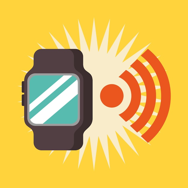 cba6018b3a2c Reloj de pulsera de señal wifi de tecnología de pago nfc Vector Premium