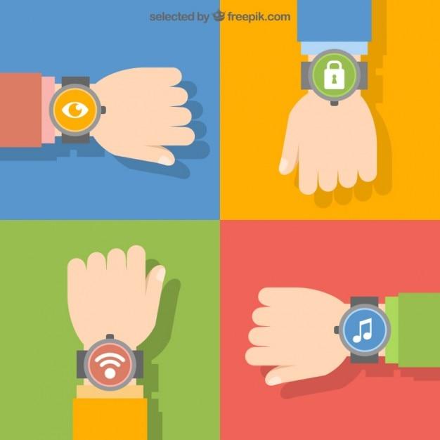 Reloj de pulsera símbolos vector gratuito