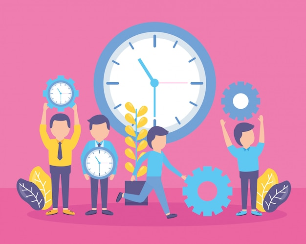 Reloj de tiempo de gente de negocios vector gratuito