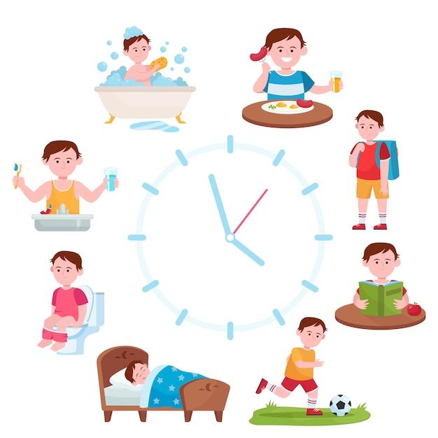 Relojes de rutina diaria para niños vector gratuito