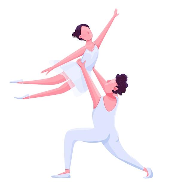 Rendimiento de bailarines de ballet Vector Premium