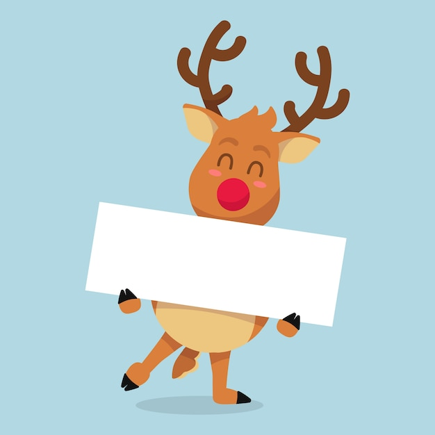 Reno de navidad con plantilla de banner en blanco vector gratuito