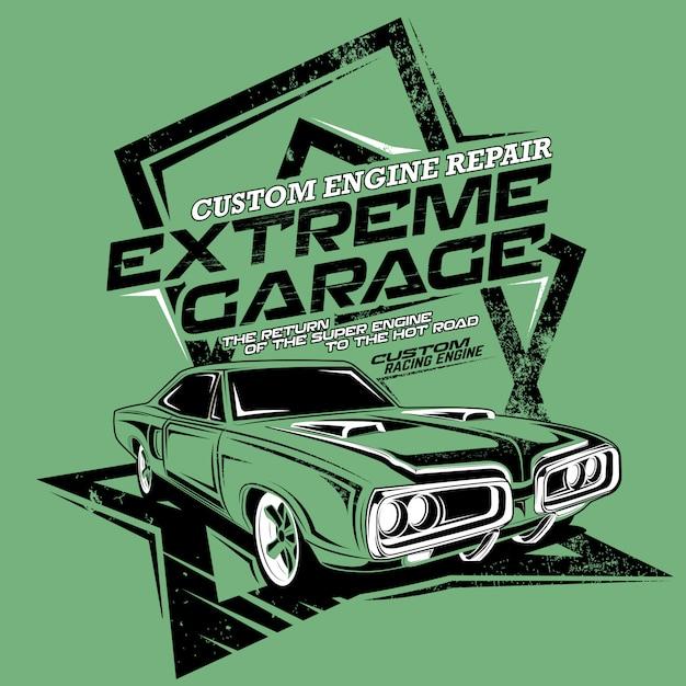 Reparación de motor personalizado de garaje extremo, ilustración de un automóvil rápido clásico Vector Premium