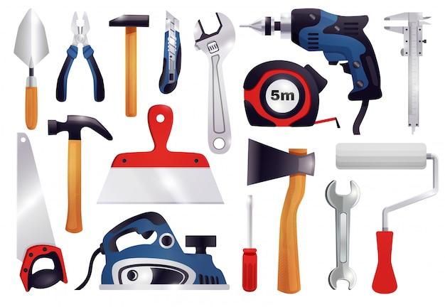 Reparación renovación carpintería herramientas set vector gratuito
