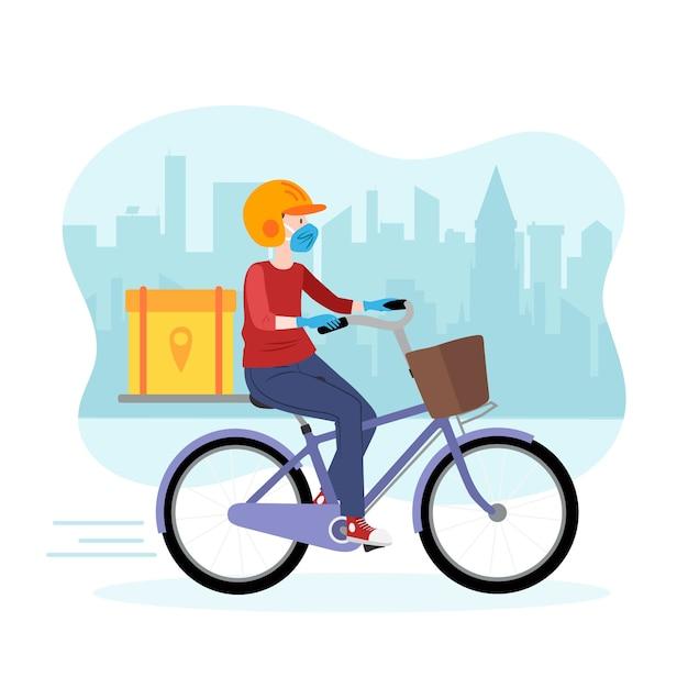 Repartidor en bicicleta vector gratuito