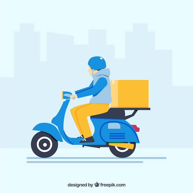 Repartidor con scooter clásica vector gratuito
