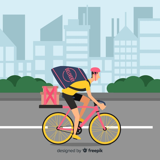 Reparto en bicicleta vector gratuito