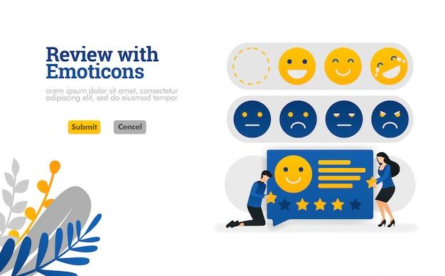 Repasar con emoticonos. personas que dan calificaciones y sugerencias con emoticonos ilustración vectorial. Vector Premium