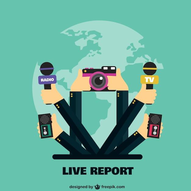 Reportaje en vivo Vector Premium
