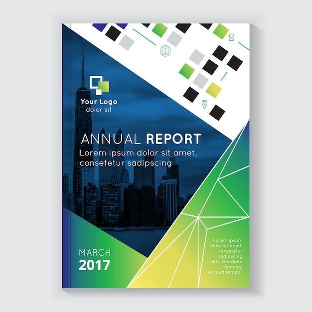Reporte anual de diseño de folleto con titular. vector gratuito