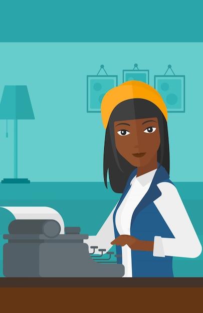 Reportero trabajando en máquina de escribir. Vector Premium