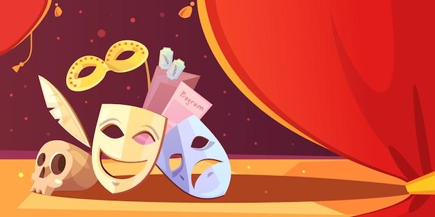 Representación de los apoyos del teatro máscara cráneo vector gratuito