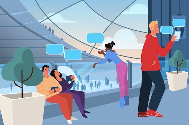 Representación de la generación z concepto de grupo social, tipo de generación. los jóvenes pasan tiempo en la realidad virtual. demografía moderna, influencia de las redes sociales. ilustración. Vector Premium