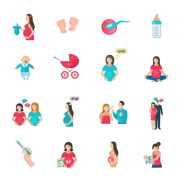 Reproducción del embarazo y los iconos del parto. vector gratuito