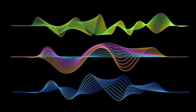 Reproductor de música digital en forma de onda Vector Premium