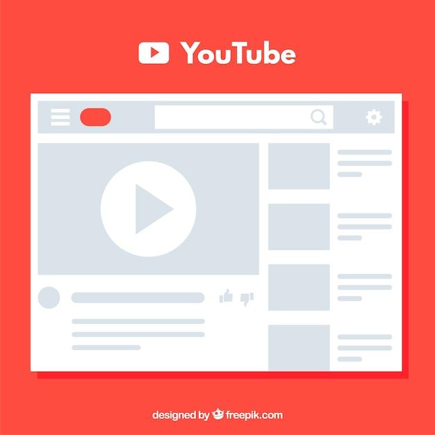 Reproductor de youtube con diseño plano vector gratuito