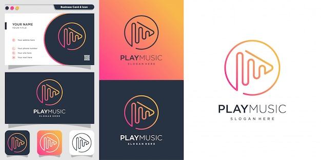 Reproduzca el logotipo de música con estilo de degradado de arte lineal y plantilla de diseño de tarjeta de visita, degradado, música, juego, arte lineal, simple, Vector Premium