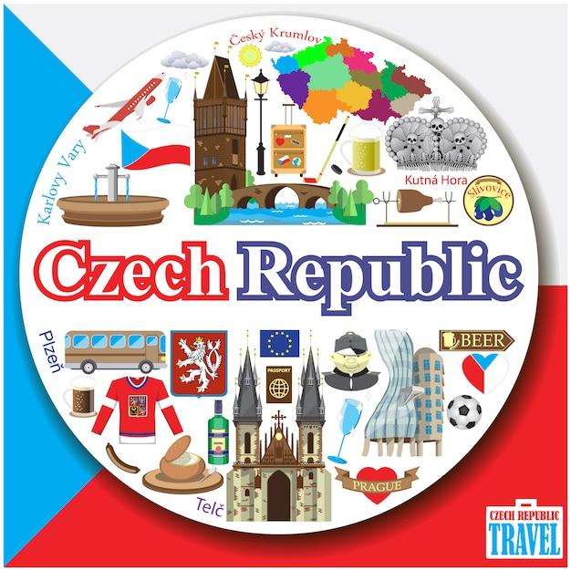 República checa ronda de fondo. conjunto de iconos y símbolos planos de colores Vector Premium