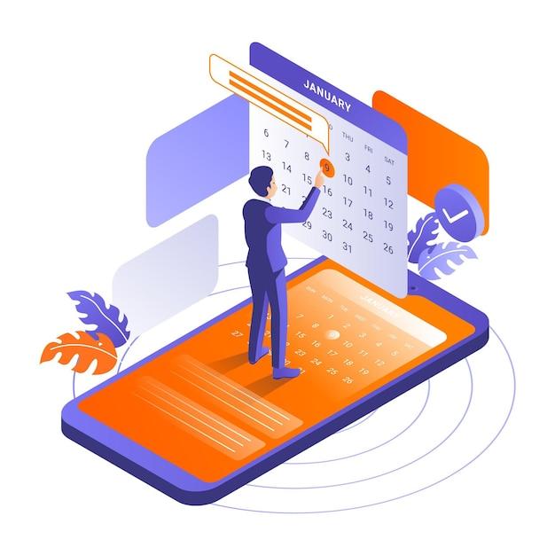 Reserva de cita isométrica con teléfono inteligente vector gratuito