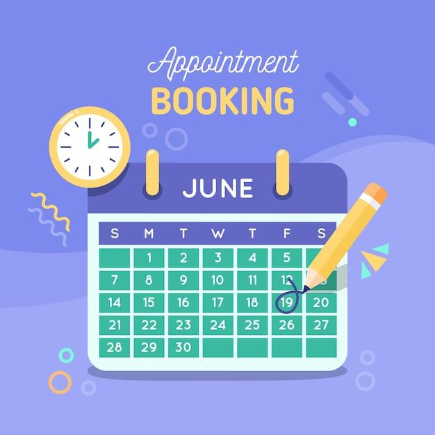 Reserva de citas con calendario Vector Premium