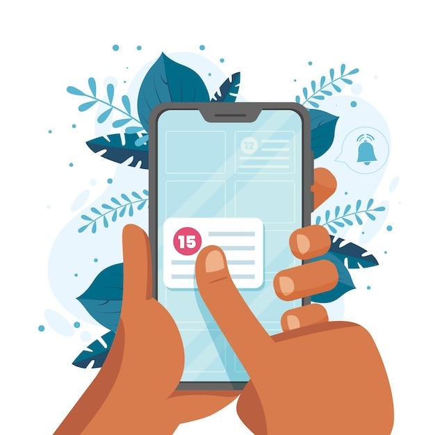 Reserva de citas con teléfono inteligente vector gratuito