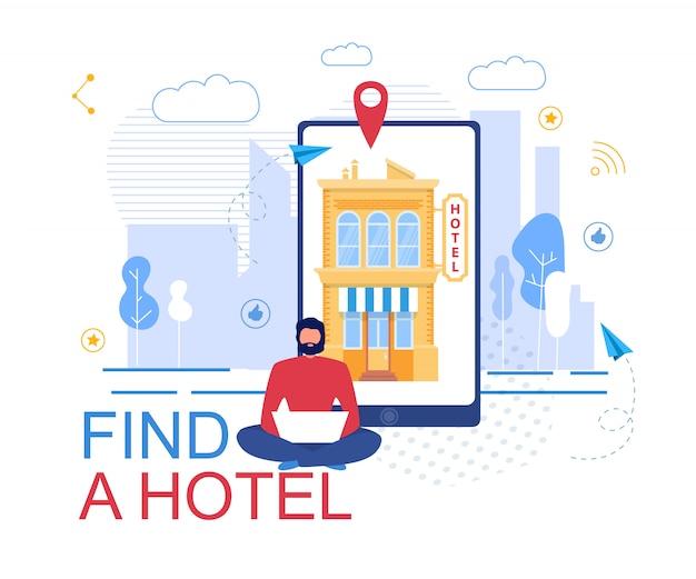 Reserva de hotel online service cartel publicitario Vector Premium