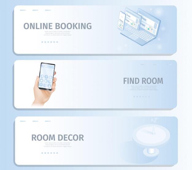 Reserva en línea encuentra la decoración de la habitación banner landing page Vector Premium
