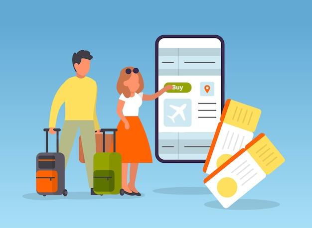 Reserva vuelo online. personas que planean un viaje en línea. idea de viaje y turismo. compra billete de avión en la aplicación. Vector Premium