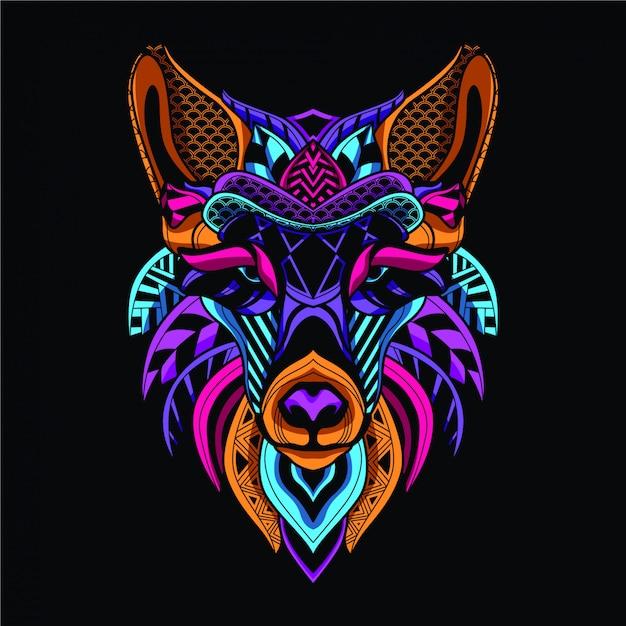 Resplandor en el lobo decorativo oscuro en color neón Vector Premium