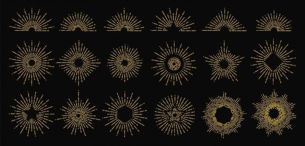 Resplandor solar dorado. iconos de rayos radiantes. elementos de la llama del sol vintage. diseño de logotipo de doodle estilo hipster Vector Premium