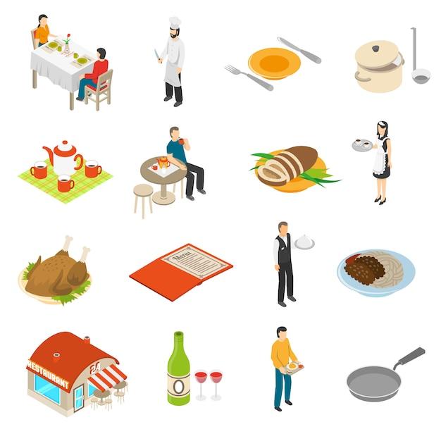 Restaurante cafe bar conjunto de iconos isométricos vector gratuito