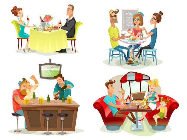 Restaurante cafe bar personas 4 iconos vector gratuito