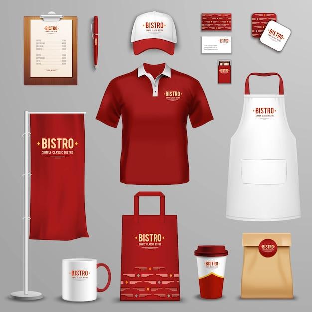 Restaurante café conjunto de iconos de identidad corporativa vector gratuito