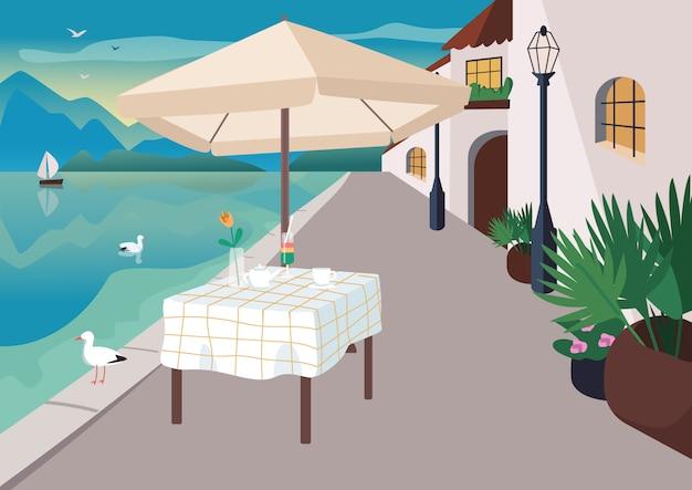 Restaurante de la calle en la ilustración de vector de color plano pueblo balneario. mesa de café servido en primera línea de mar. paisaje de dibujos animados 2d frente a la playa con gaviotas, montañas y el océano en el fondo Vector Premium