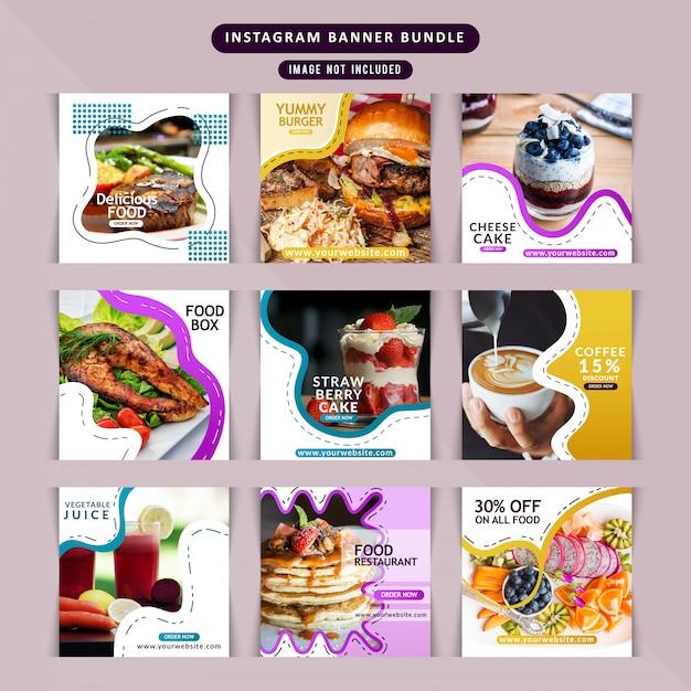 Restaurante de comida para redes sociales. Vector Premium