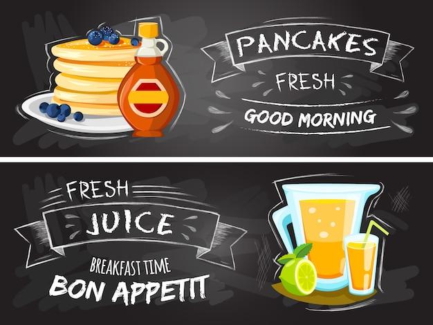 Restaurante desayunos cartel de publicidad de estilo vintage con panqueques de sartén vector gratuito