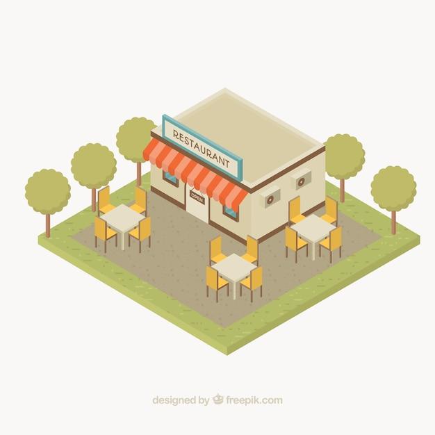 Restaurante Con Diseño Plano Y Terraza Vector Gratis