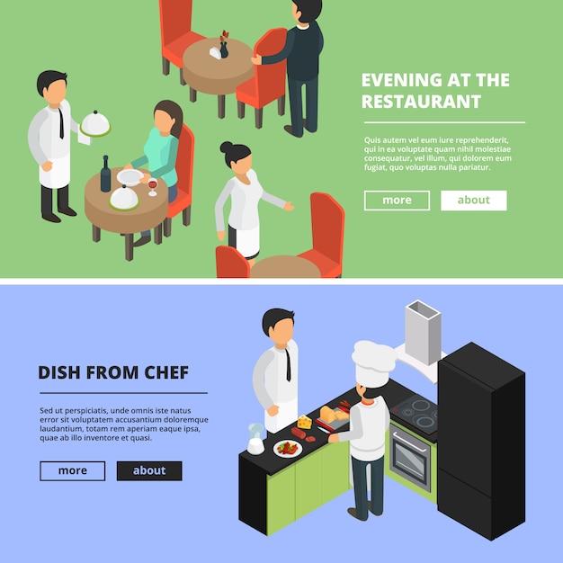Restaurante interior. comida cocina bar cafetería escaparate comedor comedor gente comida rápida pancartas con imágenes isométricas Vector Premium