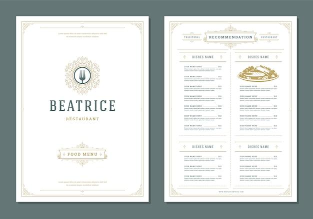 Restaurante menú diseño y etiqueta vector plantilla de folleto. Vector Premium