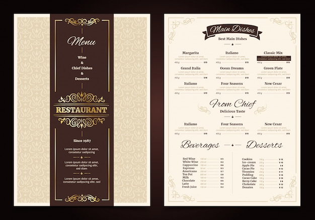 Restaurante menú de diseño vintage con marco adornado y cinta chef platos bebidas vector gratuito