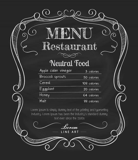 Restaurante menú pizarra vintage mano dibujado marco etiqueta vector Vector Premium