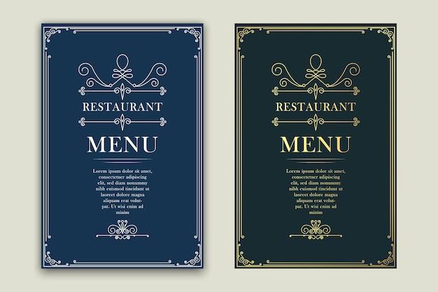 Restaurante de menú retro, publicidad u otro diseño y lugar para el texto. Vector Premium