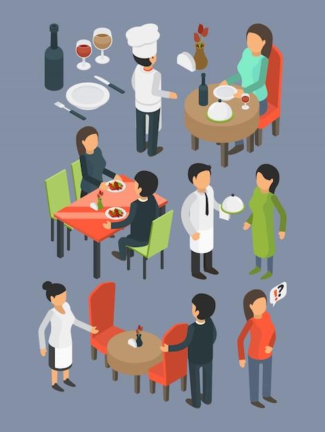 Restaurante personas. servicios de personal de catering buffet salón de banquetes invitados a eventos comer y beber cena bar comida isométrica Vector Premium