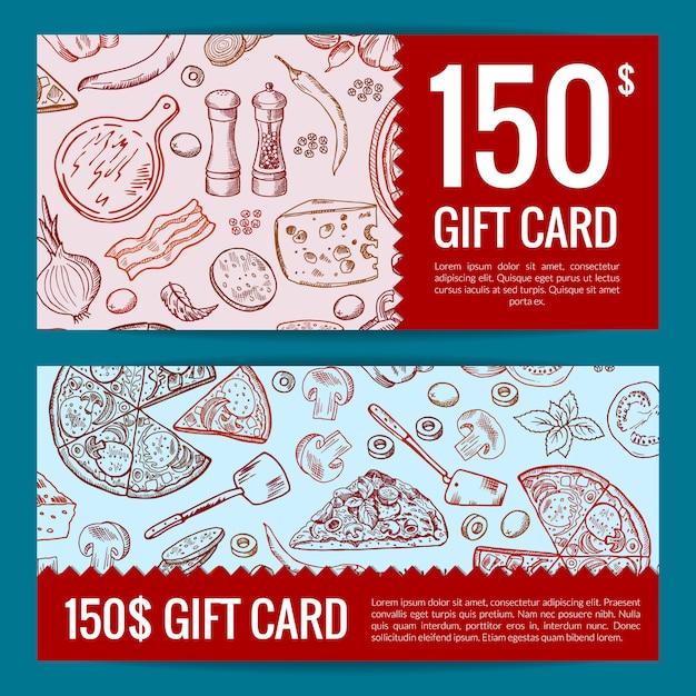 Restaurante de pizza o tienda de tarjetas de regalo o plantillas de descuento. Vector Premium