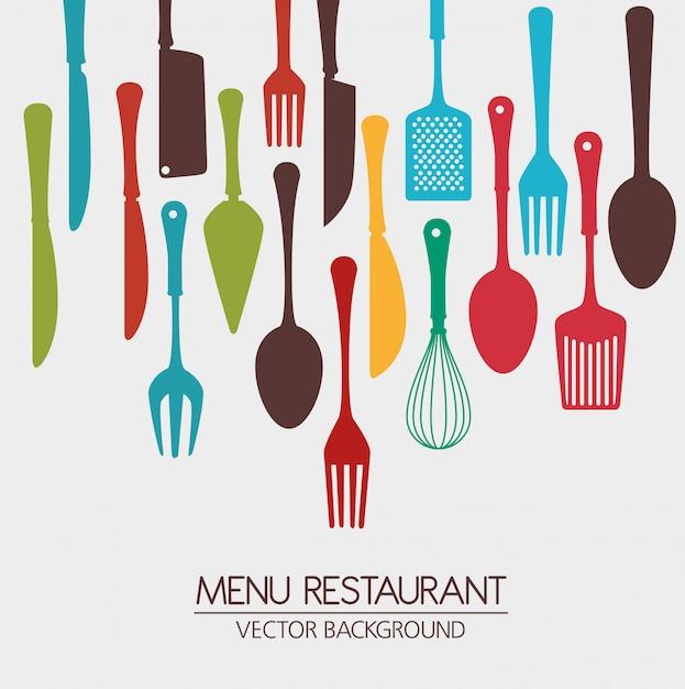 Restaurante y vajilla de cocina. Vector Premium