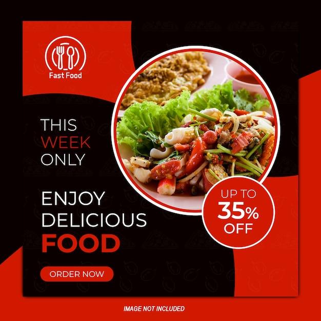Restaurante venta banner instagram plantilla de diseño cuadrado Vector Premium