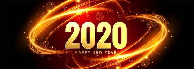 Resumen 2020 año nuevo banner con senderos de luz vector gratuito