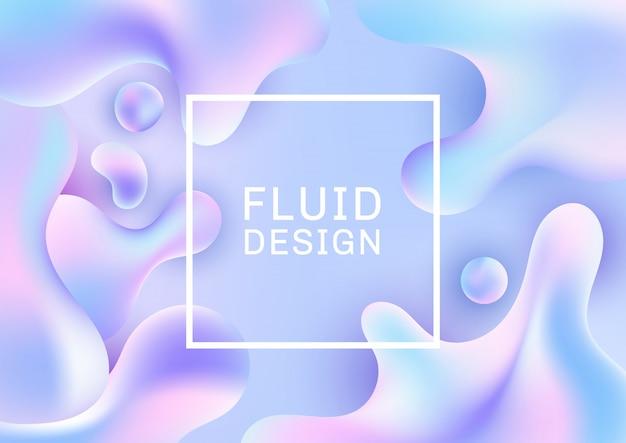 Resumen 3d fluido formas gradiente holográfico fondo Vector Premium