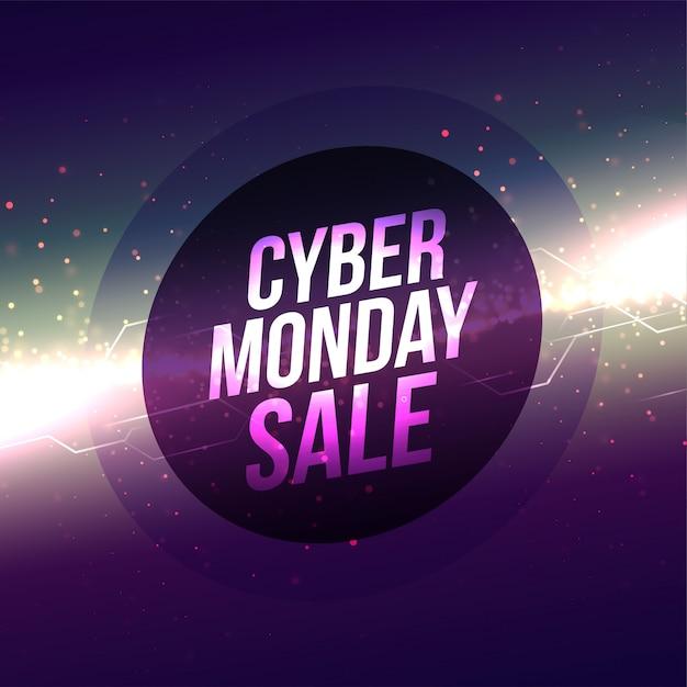 Resumen brillante diseño de banner de venta de lunes cibernético vector gratuito